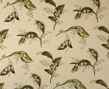 """WAVERLY WILLIAMSBURG LILIES OF THE VALLEY CELADON GREEN FABRIC BY YARD 54""""W"""