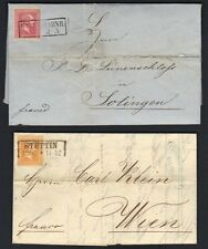 GERMANY PRISSIA 1850-60's TWO COVERS FRANKED 15 sg & 3 sg STETTIN & HAGEN-BAHNH