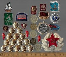 Vintage Russia COLD WAR Russian Civil Pin Red Star Medal Army Lenin Coin Big Lot