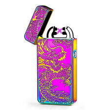 Dual Electric USB Lighter Rechargeable Plasma Windproof Flameless Cigarette AS