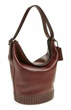 New Coach Bleeker Grom QB Brick Dark Brown Studded Leather Duffle Large Purse