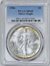 1986 $1 Silver Eagle PCGS MS69 ( Nicely Toned ) ASE