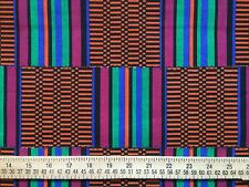 AFRICAN TRIBAL Cotton Fabric Orange Black Teal for sewing and quilting