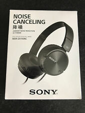 Brand New Sony Noise Canceling MDR-ZX110NC Black Fold Style Earphones Headphones