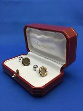 CARTIER 18K/STAINLESS STEEL GOLD OCTAGON SANTOS CUFFLINKS NICE CONDITION