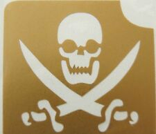 GT6 Body Art Temporary Glitter Tattoo Stencil Skull & Crossbones Pirate Pirates