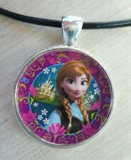 """PRINCESS ANNA"" Disney's Frozen. Glass Pendant with Leather Necklace"