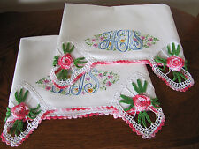 Vintage Pair Pillowcases All White Embrioidered His & Hers Crotcheted Roses Wow