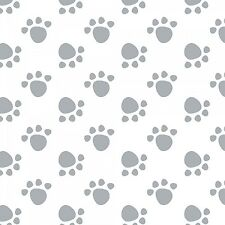 Fabric Dog Paws Gray on White Flannel by the 1/4 yard BIN