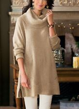 SOFT SURROUNDINGS Camel Sweater Pullover Cashmere Cowl Neck L,XL,0X,1X $120 NEW