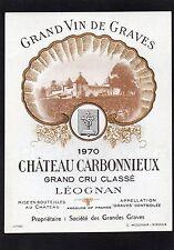 GRAVES 1ER GCC VIEILLE ETIQUETTE CHATEAU CARBONNIEUX 1970 73 CL RARE §29/12§