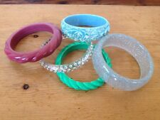 Lot of 5 Vintage Colorful Sparkle Lucite Swirl Floral Bangle Bracelets
