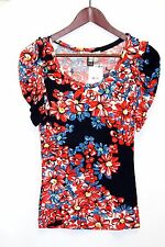 NEW WITH TAGS WOMENS MANGO TOP SHORT SLEEVE SCOOPNECK SIZE XS FLORAL VISCOSE