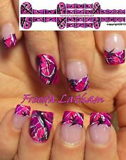 """30 Hand Painted Hot Purple Camo Nail Decals from the """" Signature Collection """""""