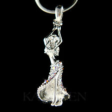 w Swarovski Crystal ~3D Hula Belly Dance Ballroom Dancer~ Charm Necklace Jewelry