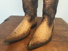 Men's Ostrich Skin Cowboy Boots by Cuadra Slightly Used Size 9 Flame Oryx Puntal