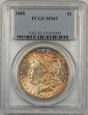 1888 Morgan Silver Dollar $1 Coin PCGS MS-63 Toned (BR-21 D)