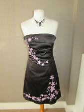 JANE NORMAN Ladies Black Satin & Pink Embroidery Floral Strapless Dress Size 10