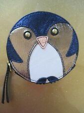 NEW Fossil Leather Penquin Round Zip Coin Purse Wallet Metallic Blue Bird