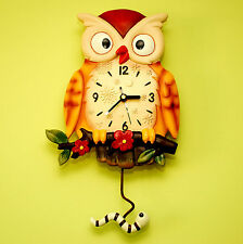 OWL - BEAUTIFUL WALL CLOCK WITH PENDULUM