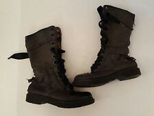 DR. MARTEN BLACK LEATHER PINK PLAID BOOTS US 7 EURO 38