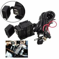 12V 2.1A Waterproof Motorcycle GPS Dual USB Charger Power Adapter Port Socket