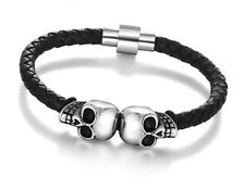 Men's Designer Style Double Skull Biker Black Leather Stainless Steel Bracelet