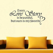 Every Love Story is Beautiful Decor Vinyl Wall Decal Quote Sticker Home Decor