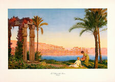 OTTO PILNY Vintage&Rare c1930s Chromolitho VALLEY OF THE PHAROS, MEMPHIS, EGYPT