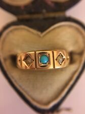 Victorian Antique Yellow Gold 15k 15ct Pearl And Turquoise Three Stone Ring