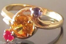 Women Citrine Ruby Amethyst created 10K Solid yellow Gold Ring fine jewelry VTG