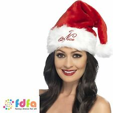 NAUGHTY OR NICE REVERSIBLE SANTA HAT WITH FUR TRIM CHRISTMAS fancy dress