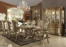 9pc Traditional Vendome Collection Gold Patina Finish Formal Dining Table Set