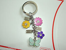 Coach Butterfly Floral Mix Keychain Key Ring Key Fob Charm NEW