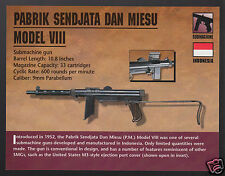 PABRIK SENDJATA DAN MIESU MODEL VIII Indonesia Submachine Gun Firearm PHOTO CARD