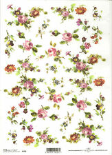 Rice Paper for Decoupage Scrapbooking, Small Pink Roses  Flowers   A4 ITD R096