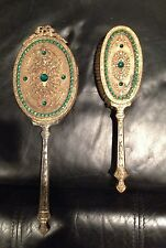 VINTAGE ANTIQUE VICTORIAN VANITY GOLDTONE GREEN RHINESTONE BRUSH & MIRROR SET