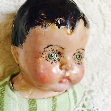 "Vtg 1900s Creepy Doll Sleepy Eyes Girl Composition Doll Painted Hair  16"" NR"