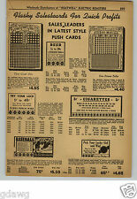 1948 PAPER AD Salesboards Baeball Draw A Card Punch Boards Punchboards