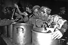 New 5x7 Korean War Photo: Mickey Rooney in USO Troupe Works the Chow Line, 1952