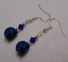 Blue turquoise gemstone skull shaped earrings handmade silver plated + stoppers