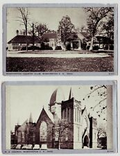 2 WASHINGTON Court House CH Ohio Postcards ME Church Country Club Fayette County