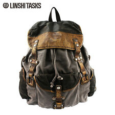 Men's High-duty Canvas Leather Backpacks Vintage Rucksacks knapsacks Satchel Bag