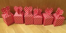6 Kids Birthday Party Bag Boxes - Wedding Favour Cake Box / Red Polka Dot Heart