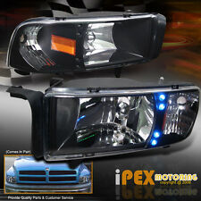 Bright LED Lights 1994-2001 Dodge Ram 1500 2500 3500 Black Signal Head Light