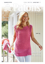 Patons Ladies Lacey Long Tunic Top Summer Cotton Knitting Pattern 4067