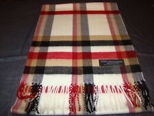 100% Cashmere Scarf Soft 72X12 Cream Tan Red Check Plaid Scotland Wool Z52 Women