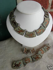 VINTAGE SIGNED MEXICAN SILVER MIXED METALS INLAID ZODIAC NECKLACE PARURE SET