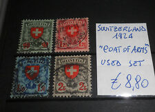 """SWITZERLAND 1924 """"COAT OF ARMS"""" USED SET (CAT.A)"""