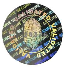 "392 ""FINGERPRINT"" Hologram security stickers labels + serial no's 20mm C20-1SSN"